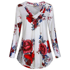 Women Ladies Long Sleeve Blouse Flower Tee V Neck T-Shirt Tunic Shirts Tops 4-18