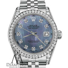 Rolex 31mm Datejust Tahitian MOP Mother of Pearl Diamond 18K White Gold SS Watch