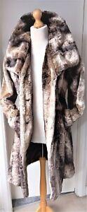 Exquisite Per Una M&S Faux Fur Mink Coat Ladies Womens Size M Brown Beige ExCond