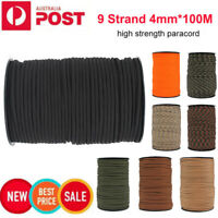 100m 9-Core Paracord Rope 4mm Outdoor Camping Survival Tent Roll Lanyard AU