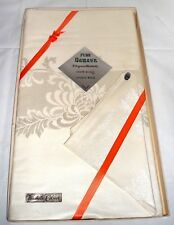 """Vintage Pure Linen Damask Tablecloth 76"""" x 56"""" & 8 Matching Napkins Unused NWT"""