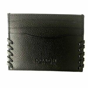 NEW! Authentic! COACH Black Slim Card Case Baseball Stitch F22370