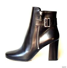 new $1180 PRADA black leather high heel zipper ANKLE BOOTS 41 11 - gorgeous