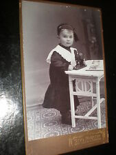 Cdv old photograph child with toy horse by Otto Martin at Dresden Germany c1900s