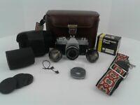 Vintage 35mm Sears Auto 500 TLS Camera + Case, Strap, Flash, 3 Lenses,