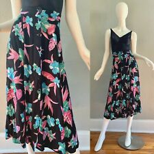 Vintage 80s 90s Black Floral Boho Gauze Front Button High Waist Midi Skirt S/M