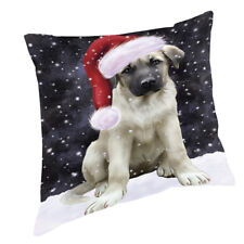 Let it Snow Anatolian Shepherds Dog Wearing Santa Hat Throw Pillow 14x14