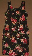 NWT Womens Juniors AMBIANCE Black Floral DRESS Size M Medium Stretch NEW