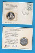 Enveloppe Timbre-Médaille en argent 500ème anniversaire naissance Michel-Ange