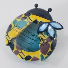 Bath and Body Works Teal Yellow Lady Bug Scentportable Unit No Disc Visor Clip