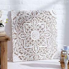 Wandbild Dekoration Holz Bild Holzschnitt Floral Dekobild Ornamente Shabby Chic