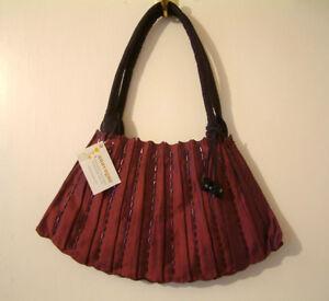 New Ladies Anavogue Handbag Burgundy Beaded Fabric with Pompom Tassel , BNWT