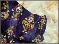 HANDMADE ANTIQUE 19th CRISP POLISHED SILK LUSH EMBROIDERED FABRIC FRAG COLLECTOR