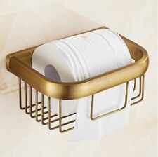 Antique Brass Toilet Paper Holder Bathroom Tissue Storage Basket Wall Mount