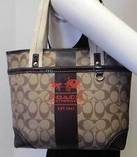 Coach Heritage Monogram Signature Brown & Tan Small Tote Bag Handbag Purse 11349