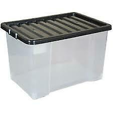 3 x 75L (Litre) X Large Plastic Storage Clear Box Strong Stackable Container