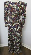 Vtg.1980s E.D.Michaels Belted Drop Waist Maxi Dress,Field Of Flowers,Sz 10,12