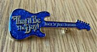 THAT'LL BE THE DAY GUITAR SHAPED METAL PIN BADGE BUDDY HOLLY ROCK N ROLL BLUE