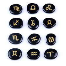 12pcs Zodiac Stones Set Natural Black Obsidian Engraved Symbols One Pouch