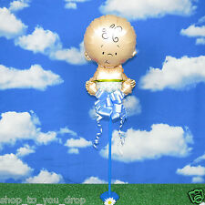 Baby Shower Boy Newborn Blue Christening Balloon+Stand+Cup+Stick Pull Bow