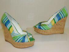 Nine West Green Blue Yellow Stripe Cork Wedge Size 7.5 1/2 Shoes Heels Sandals