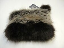 AVOCA NWT Brown Beige Faux Fur Two Tone Pom Pom Clutch Bag Size S B5098