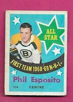 1969-70 OPC  # 214 BRUINS PHIL ESPOSITO  ALL STAR CREASED CARD (INV# D5764)