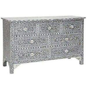 Bone Inlay Chest Of Drawer Black White Floral Pattern (MADE TO ORDER)