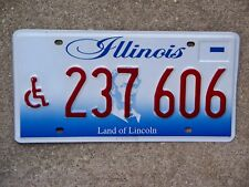 Illinois Handicapped License Plate 237 606 Near Mint Cond NOS Unissued Disabled
