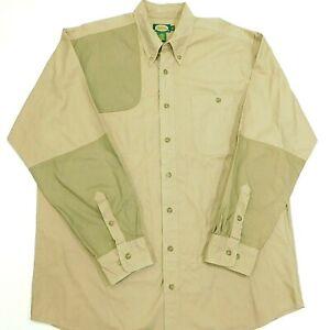 CABELA'S Shooting Hunting Shirt Quilted Shoulder Khaki Tan L/S Men's XLT Tall