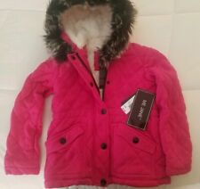 Nwt Toddler Girls Sz 6x Me Jane Pink Winter Faux Fur Hooded Jacket Fleece Lined