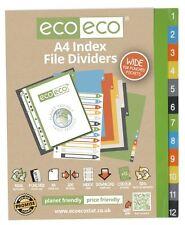 Conjunto de 1 X 12pk Eco-Eco A4 50% de plástico reciclado amplia carpeta de archivo índice divisores