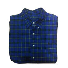 Ralph Lauren Mens XL Custom Fit 100% Cotton Plaid Blue/Green Button Down Shirt