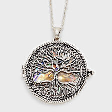 """Magnifying Glass Necklace Tree of Life Pendant SILVER ABALONE 33"""" Long Jewelry"""