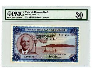 Malawi … P-4 … 5 Pounds … 1964 ...CH *VF+*. PMG 30 (VF+).