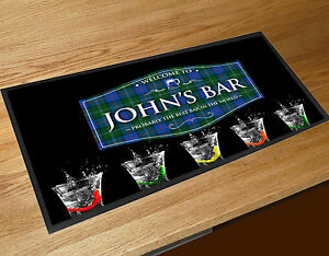 Personalised Blue & Green Tartan label Shots bar runner Cocktail Bars Bar Mat
