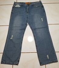 FUSAI/Focus USA Mens Distressed Blue Jeans w/Embellished Pockets 42x32 B1107