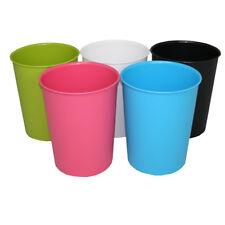 "JVL Vibrance Plastic Waste Paper Basket Bin Kitchen Office Bathroom Storage 11"" Pink"