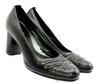 Clarks Artisan Pump Women's 7M Black Leather Cross Slip On Dress Heel Shoe 87511