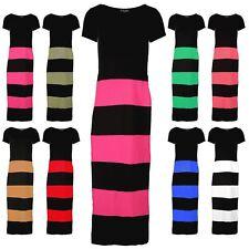 Women Ladies Contrast Block Both Side Slit High Waist Long Maxi Jersey Dress Top