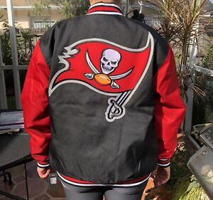 NFL TAMPA BAY BUCCANEERS JH DESIGN POLY TWILL BIKER JACKET NWT SIZE M