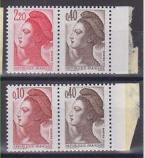 "France 1985:YT 2179a et 2376b daté : Type ""Liberté"" du carnet 1501 : neuf** MNH"