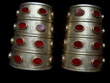 Pair antique silver gilt Tekke Turkoman bracelets 4 inches with carnelian inlays
