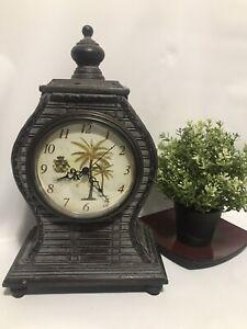 Palm Tree Crest Wood Trim Mantel Shelf Table Clock Decor w/ Secret Compartment