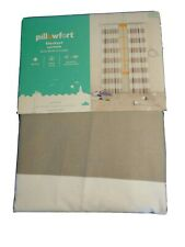 "Pillowfort Twill Gray White Striped Blackout Curtain Single Panel 42"" × 84"""