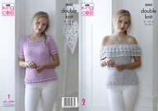 King Cole Ladies Double Knitting Pattern Off Shoulder & Short Sleeve Top 5043