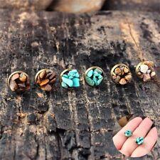 1Pair Natural Stone Bronze Jewelry Turquoise Earrings Rock Ear Stud Amethyst