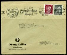 WWII II ERA GERMANY CHANCELLOR FRANKED 1 & 15  pfg STAMPS  COVER LEIPZIG APR '42