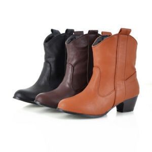 Retro Women's Round Toe Ankle Boots Block Mid Heel Leather Booties Shoes New