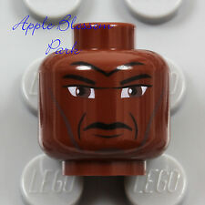 LEGO Male Brown Dark FLESH MINIFIG HEAD Black Eye-Brow Man Hair - Star Wars Mace